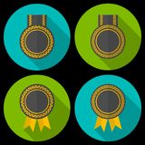 Award or badge with ribbons and decoration. Modern flat style with a long shadow Royalty Free Stock Image