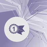 Award, badge with ribbons icon on purple abstract modern background. The lines in all directions. room for your advertising. Award, badge with ribbons icon on Stock Photo