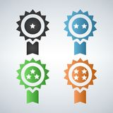 Award badges first second third fourth place, according stars. Grey, blue, green and gold isolated on white backround Royalty Free Stock Photography
