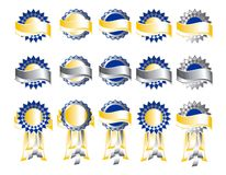 Award Badges or Medals with Banners. A beautiful collection of award badges or medals with ribbons and banners; colors are silver, gold, and blue - isolated on Royalty Free Stock Photo
