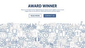 Award Banner Design. Vector Illustration of Line Web Concept. Winner Template Stock Image
