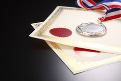 Award. Blank certificate with silver medal Stock Photography
