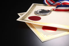 Award. Blank certificate with silver medal Royalty Free Stock Image