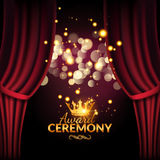 Award ceremony design template. Award event with red curtains. Performance premiere ceremony design Stock Image