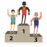 The award ceremony medals the athletes on the podium. Men`s winners. Character vector illustration flat people. Stock Images