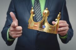 Authority. Award ceremony of the Winner. Time to rule concept. Power of authority. Crown for new king royalty free stock images