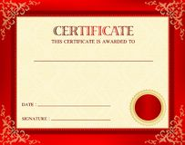 Award certificate. Blank award certificate with red floral frame, seal and copy space Stock Photography