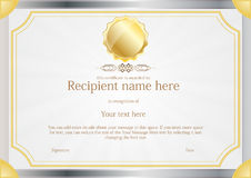 Award Certificate frame template design vector Royalty Free Stock Images