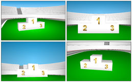 Award Cliparts prize 1 2 3 place podium. On the grass at the sports stadium Royalty Free Stock Photos