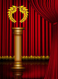 Award column with laurel wreath on theater stage Royalty Free Stock Image