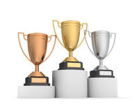 Award cups on winner podium 3d illustration Royalty Free Stock Photos