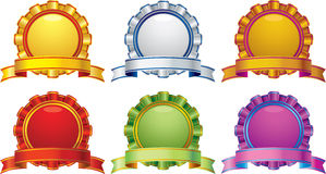 Award with curve banner in different color Royalty Free Stock Photos