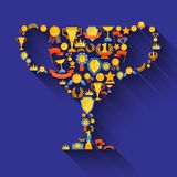 Award decorative icons. Set in winner champion cup shape vector illustration Stock Image