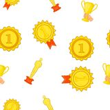 Award elemenrs pattern, cartoon style Royalty Free Stock Photography
