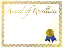 Award of Excellence. Illustration of a certificate. Award of Excellence with golden ribbon vector illustration