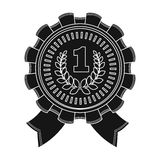 The award for first place.Gold medal with the red ribbon of the winner Olympics.Awards and trophies single icon in black. Style vector symbol stock web Royalty Free Stock Photos