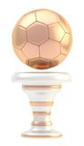 Award football sport trophy cup. Award football, soccer sport bronze trophy cup isolated over white background Stock Photos