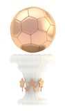 Award football sport trophy cup. Award football, soccer sport bronze trophy cup isolated over white background Stock Photo