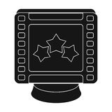 Award in the form of a video tape for best actor.Movie awards single icon in black style vector symbol stock. Web illustration stock illustration