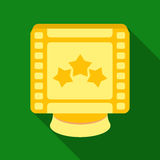 Award in the form of a video tape for best actor.Movie awards single icon in flat style vector symbol stock illustration. Award in the form of a video tape for royalty free illustration