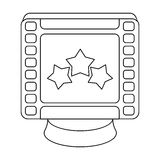 Award in the form of a video tape for best actor.Movie awards single icon in outline style vector symbol stock. Web illustration stock illustration