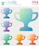 Award geometric polygonal icons. Alive mosaic style symbol collection. Memorable low poly style. Modern design. Award icons set for infographics or vector illustration