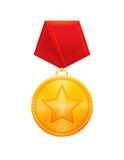 Award Gold Medal with Red Ribbon Stock Images