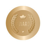 Award gold round sign vector. Stock Image