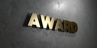 Award - Gold sign mounted on glossy marble wall  - 3D rendered royalty free stock illustration. This image can be used for an online website banner ad or a Royalty Free Stock Image