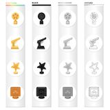 Award gold star, gold pistol, film. Different Kinds of Movie Awards set collection icons in cartoon black monochrome. Outline style vector symbol stock Stock Image