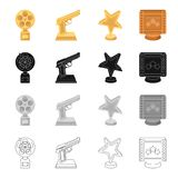 Award gold star, gold pistol, film. Different Kinds of Movie Awards set collection icons in cartoon black monochrome. Outline style vector symbol stock Stock Photos