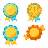 Award golden round signs collection. Elements for awarding winners Stock Photography