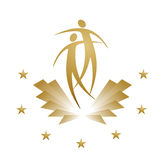 Award. Golden award in the shape of a flying figure Royalty Free Stock Image