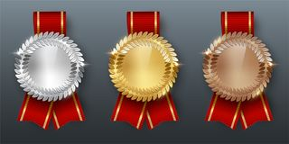 Award golden, silver and bronze medals with ribbons 3d realistic vector color illustration on gray background. Award golden, silver and bronze blank medals with vector illustration