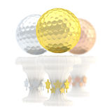 Award golf ball sport trophy cup. Award golf ball sport trophy composition of golden, silver and bronze cups isolated over white background Royalty Free Stock Images