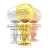 Award golf ball sport trophy cup. Award golf ball sport trophy composition of golden, silver and bronze cups isolated over white background Royalty Free Stock Photos