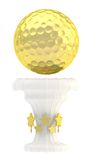 Award golf ball sport trophy cup. Award golf ball sport golden trophy cup isolated over white background vector illustration
