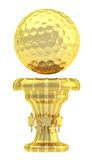 Award golf ball sport trophy cup. Award golf ball sport golden trophy cup isolated over white background Royalty Free Stock Photo