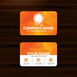 Award icon. Best guarantee symbol. Business or visiting card template. Award icon. Best guarantee symbol. Winner achievement sign. Phone, globe and pointer Royalty Free Stock Image