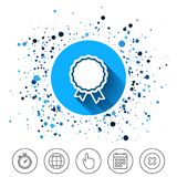Award icon. Best guarantee symbol. Button on circles background. Award icon. Best guarantee symbol. Winner achievement sign. Calendar line icon. And more line Stock Photo