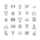 Award icon set. Line art. Includes such icons as trophy cup, goal, success, thumbs up. Editable stroke 48X48 pixel perfect. royalty free illustration