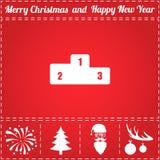 Award Icon Vector. And bonus symbol for New Year - Santa Claus, Christmas Tree, Firework, Balls on deer antlers stock illustration
