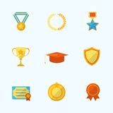 Award Icons Flat Set Stock Photo