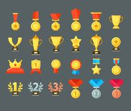 Award icons. Golden trophy cup, reward goblets and winning prize. Flat medals awards vector symbols. Award icons. Golden trophy cup, reward goblets and winning royalty free illustration