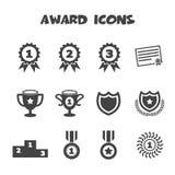 Award icons. Mono vector symbols Royalty Free Stock Photo