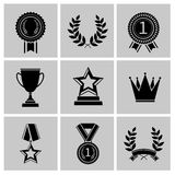 Award icons set black. Award icons black set of crown star laurel wreath isolated vector illustration Stock Photography