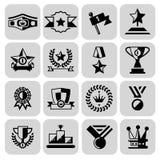 Award icons set black Stock Photo