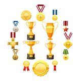 Award icons set, cartoon style. Award icons set. Flat illustration of 16 award vector icons for web Royalty Free Stock Image