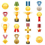 Award icons set, cartoon style. Award icons set. Flat illustration of 16 award vector icons for web Stock Images