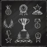 Award icons set chalkboard Stock Photo